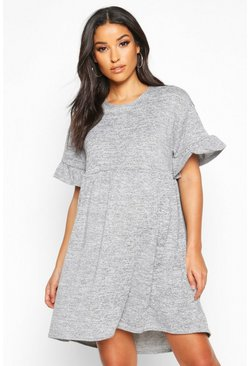 Grey marl grey Maternity Knitted Smock Dress