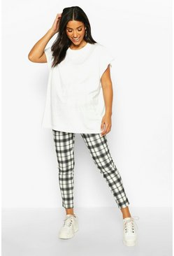Black Maternity Check Tapered Trouser