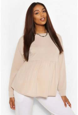 Stone beige Maternity Smock Sweat Top