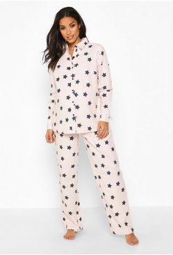 Pink Maternity Brushed Woven Star Pj Pants Set