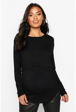 Black Maternity Long Sleeve Nursing Top