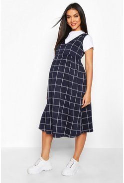 Navy Maternity Check Smock Pinafore Dress