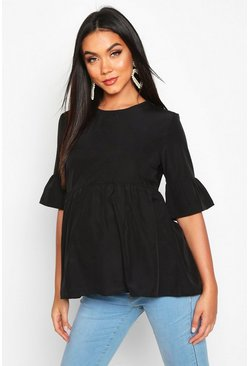 Black Maternity Woven Smock Top