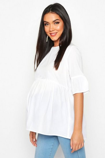 White Maternity Woven Smock Top