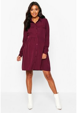 Wine red Maternity Button Front Woven Smock Shirt Dress