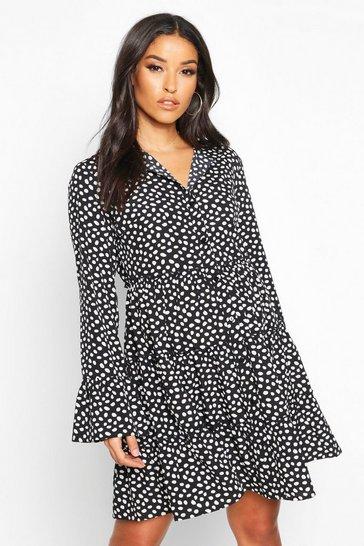 Black Maternity Polka Dot Smock Shirt Dress