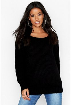 Black Maternity Slash Neck Jumper