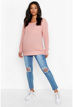 Dusky pink Maternity Slash Neck Jumper