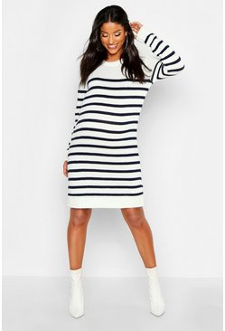 Cream white Maternity Stripe Jumper Dress