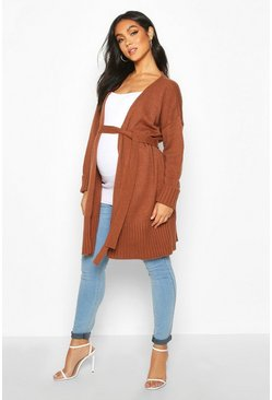Rust orange Maternity Tie Waist Longline Wrap Cardigan