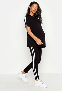 Black Maternity Side Stripe Lounge Set
