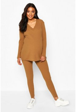Tan brown Maternity Knitted Rib Jumper+ Legging Co-ord