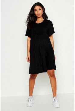Black Maternity Overlay Nursing Smock Dress