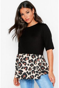 Brown Maternity Contrast Leopard Smock Top