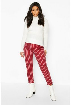 Wine red Maternity Stripe Tapered Trouser