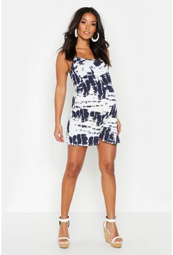 Navy Maternity Tie Dye Playsuit