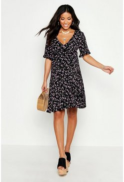 Black Maternity Ditsy Floral V Neck Tea Dress
