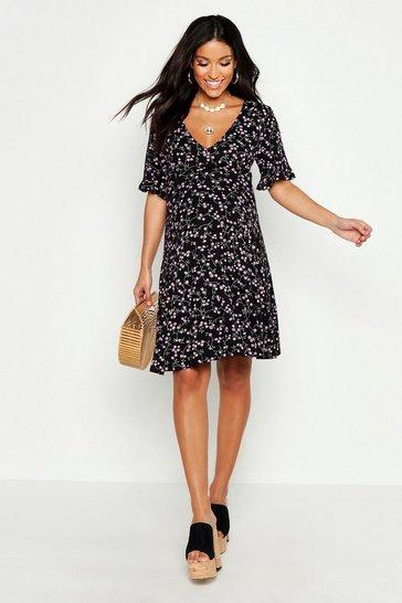 Black Maternity Ditsy Floral V Neck Tea Dress