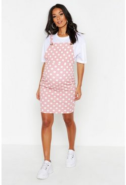 Rose pink Maternity Polka Dot Pinafore Dress