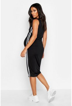 Black Maternity Side Stripe Rib Midi Bodycon Dress