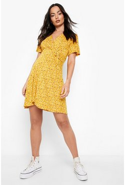 Mustard Maternity Ditsy Floral Wrap Dress