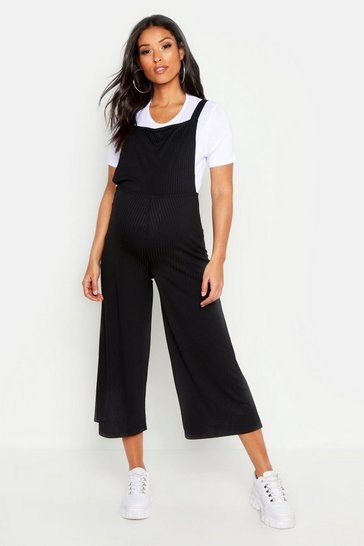 Black Maternity 2 In 1 Rib T-shirt  Dungaree Set