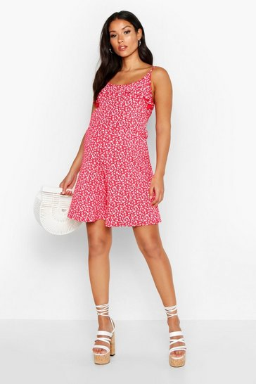 Red Maternity Ditsy Ruffle Sun Playsuit