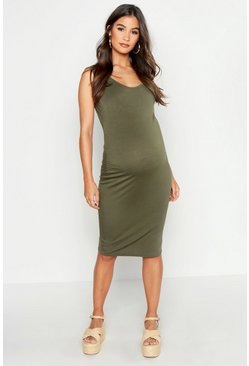 Khaki Maternity Bodycon Dress