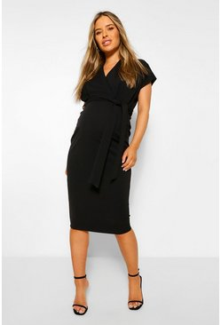 Black Maternity Wrap Tie Waist Midi Bodycon Dress