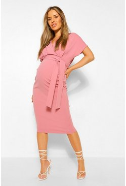 Rose pink Maternity Wrap Tie Waist Midi Bodycon Dress