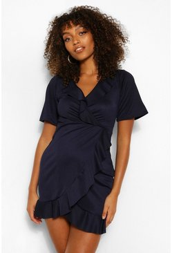 Navy Maternity Wrap Ruffle Dress