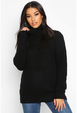 Black Maternity Roll Neck Jumper