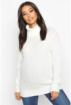 Ivory white Maternity Roll Neck Jumper
