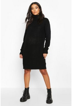 Black Maternity Roll Neck Jumper Dress