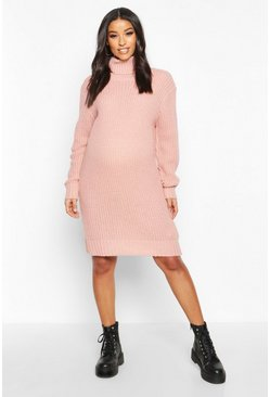 Pale pink pink Maternity Roll Neck Jumper Dress