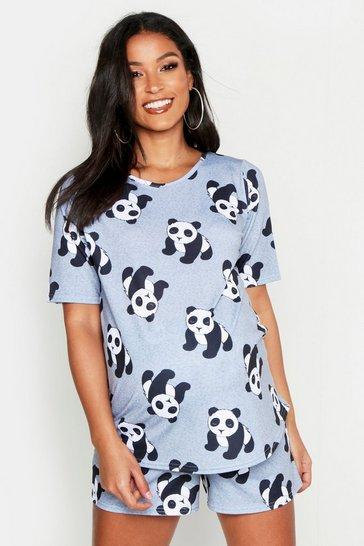 Grey Maternity Panda Short Set