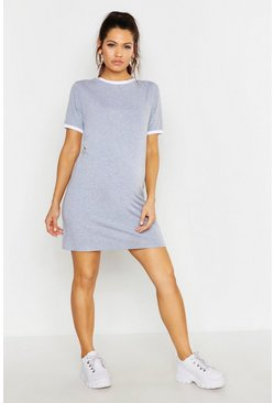 Light grey grey Maternity Ringer T-Shirt Dress