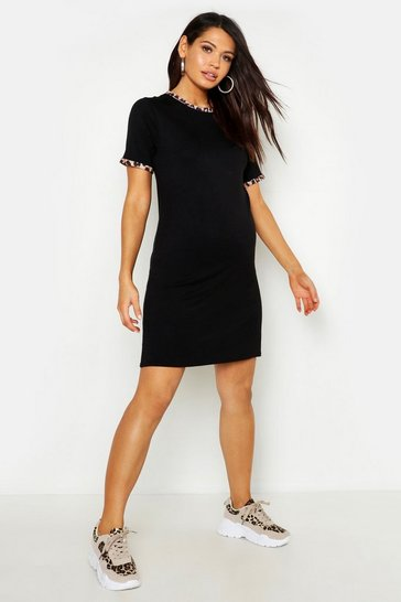 Black Maternity Leopard Ringer T-Shirt Dress