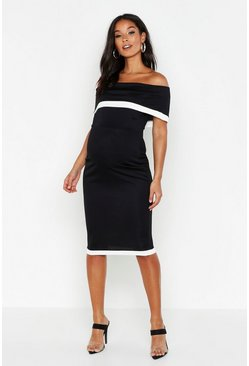 Black Maternity Bardot Contrast Bodycon Dress
