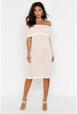 Nude Maternity Bardot Contrast Bodycon Dress