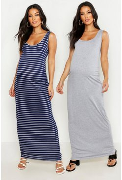Multi Maternity 2 Pack Plain And Stripe Maxi 2 Pack