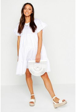 White Maternity Broderie Anglaise Smock Dress