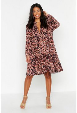 Black Maternity Leopard Print Smock Dress