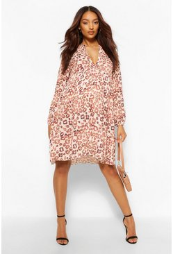 Pink Maternity Leopard Print Smock Dress