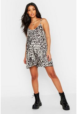 Tan brown Maternity Leopard Print Swing Playsuit