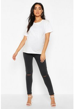 Grey Maternity Vintage Wash Slit Knee Jean