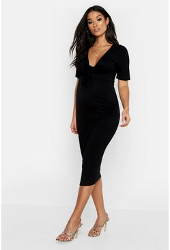 Black Maternity Tie Front Short Sleeve Midi Dress