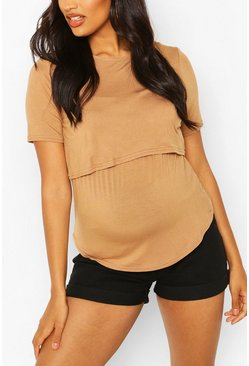Camel beige Maternity Double Layer Nursing Tee