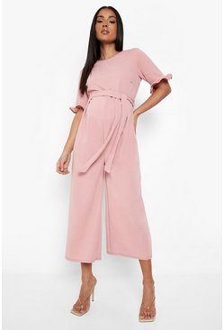 Rose pink Maternity Tie Waist Ruffle Culotte Jumpsuit