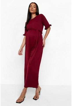 Wine red Maternity Tie Waist Ruffle Culotte Jumpsuit